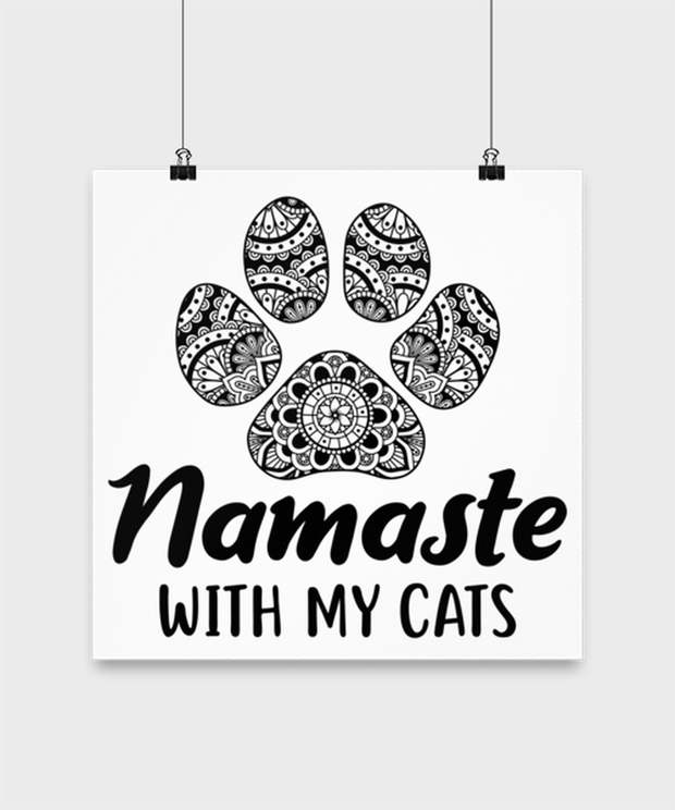 Namaste Home With My Cats High Gloss Poster 14 in x 14 in, Gift For Cat And Yoga Lovers, Posters & Prints Gift For Her, Birthday, Just Because Present Ideas For Cat And Yoga Lovers