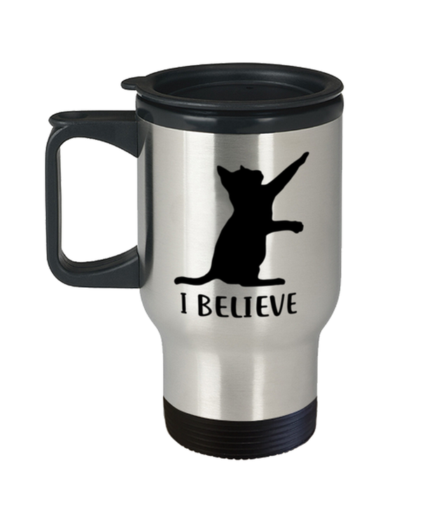 I Believe 14 oz Stainless Steel Travel Coffee Mug w/ Lid, Gift For Cat Lovers, Novelty Coffee Mugs Gift For Dad, Father, Brother, Birthday, Just Because Present Ideas For Cat Lovers
