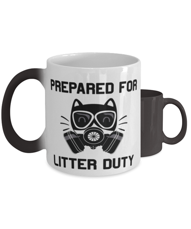 Prepared For Litter Duty Color Changing Coffee Mug, Gift For Cat Lovers, Novelty Coffee Mugs Gift For Him, Her, Birthday, Just Because Present Ideas For Cat Lovers