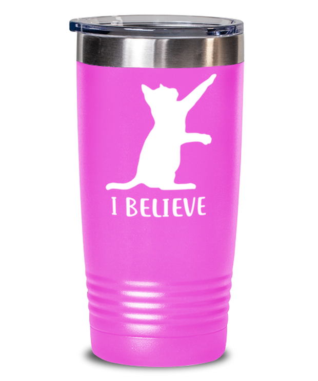 I Believe 20 oz Pink Drink Tumbler w/ Lid, Gift For Cat Lovers, Tumblers & Water Glasses Gift For Dad, Father, Brother, Birthday, Just Because Present Ideas For Cat Lovers