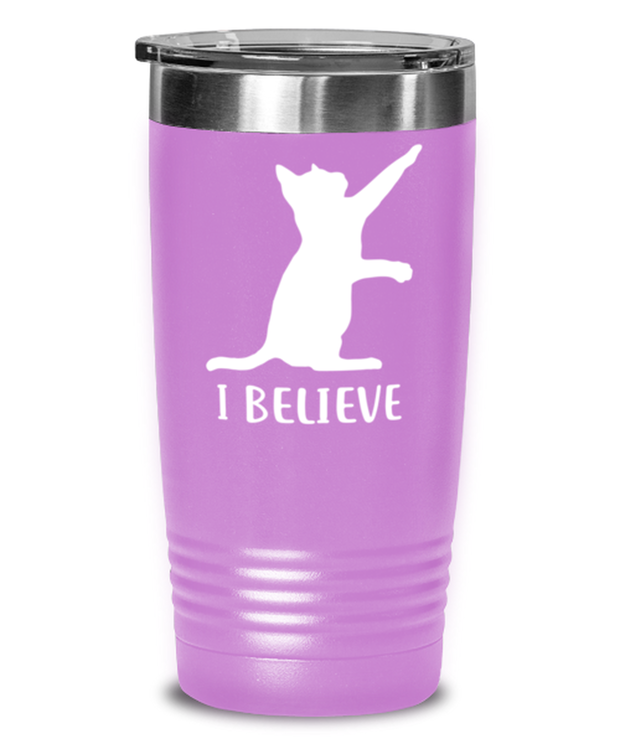 I Believe 20 oz Light Purple Drink Tumbler w/ Lid, Gift For Cat Lovers, Tumblers & Water Glasses Gift For Dad, Father, Brother, Birthday, Just Because Present Ideas For Cat Lovers