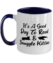 It's A Good Day To Read & Snuggle Kitties 11oz Navy Two Tone Coffee Mug, Gift For Cat And Book Lovers, Novelty Coffee Mugs Gift For Her, Birthday Present Ideas For Cat And Book Lovers