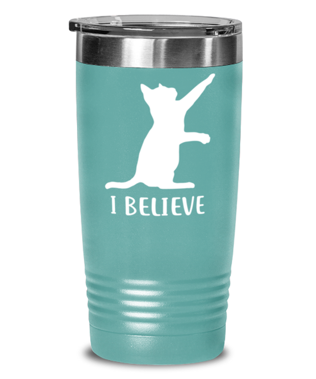 I Believe 20 oz Teal Drink Tumbler w/ Lid, Gift For Cat Lovers, Tumblers & Water Glasses Gift For Dad, Father, Brother, Birthday, Just Because Present Ideas For Cat Lovers