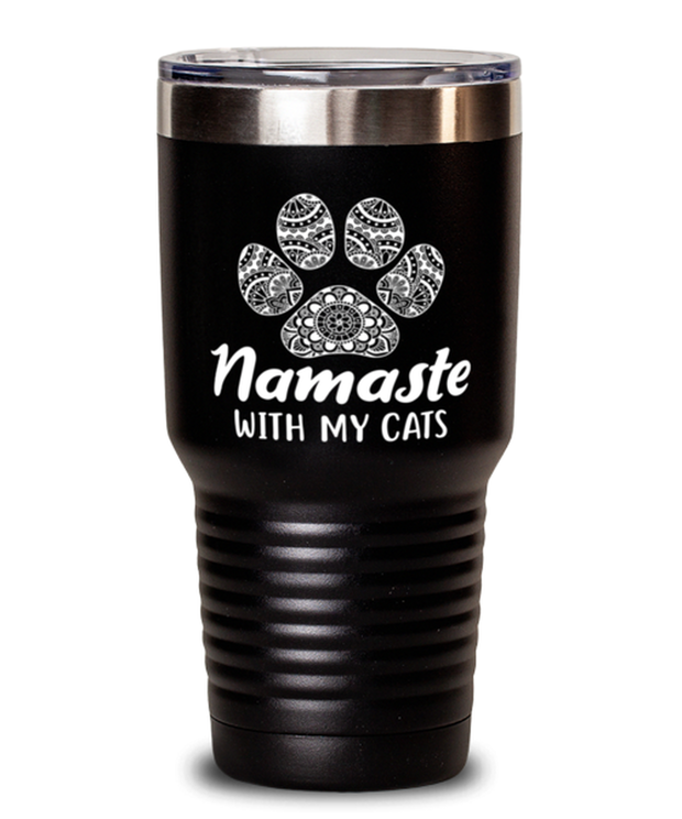 Namaste Home With My Cats 30 oz Black Drink Tumbler w/ Lid, Gift For Cat And Yoga Lovers, Tumblers & Water Glasses Gift For Her, Birthday, Just Because Present Ideas For Cat And Yoga Lovers