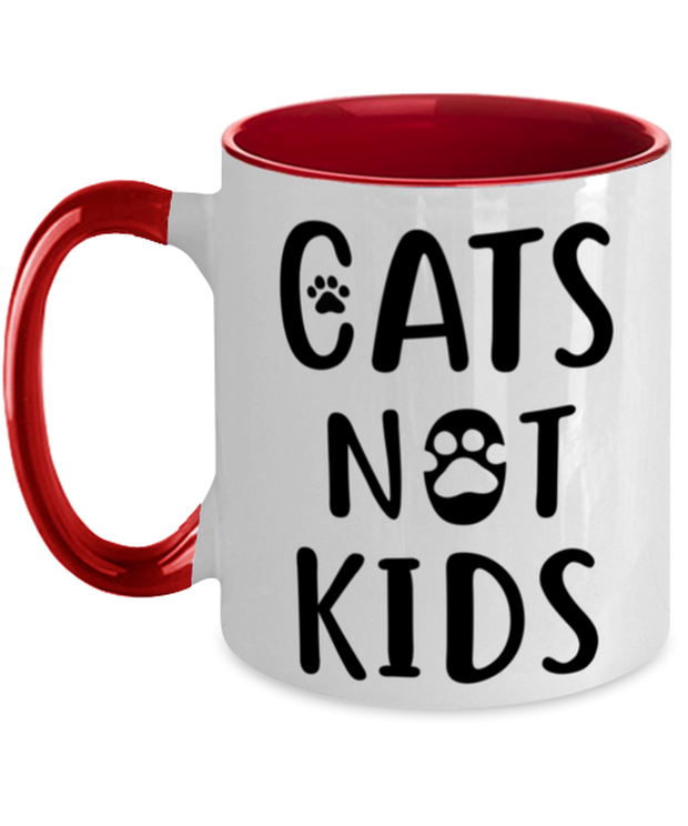 Cats Not Kids 11oz Red Two Tone Coffee Mug, Gift For Cat Lovers, Novelty Coffee Mugs Gift For Her, Sister, Friend, Birthday, Just Because Present Ideas For Cat Lovers