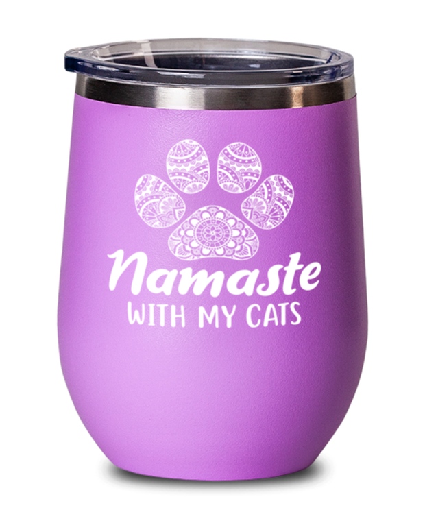 Namaste Home With My Cats Pink Insulated Wine Tumbler w/ Lid, Gift For Cat And Yoga Lovers, Wine Glasses Gift For Her, Birthday, Just Because Present Ideas For Cat And Yoga Lovers
