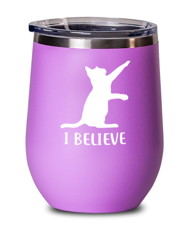 I Believe Pink Insulated Wine Tumbler w/ Lid, Gift For Cat Lovers, Wine Glasses Gift For Dad, Father, Brother, Birthday, Just Because Present Ideas For Cat Lovers