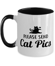 Please Send Cat Pics 11oz Black Two Tone Coffee Mug, Gift For Cat Lovers, Novelty Coffee Mugs Gift For Friend, Sister, Daughter, Birthday, Just Because Present Ideas For Cat Lovers