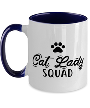 Cat Lady Squad 11oz Navy Two Tone Coffee Mug, Gift For Cat Ladies, Novelty Coffee Mugs Gift For Daughters, Sisters, Friends, Birthday, Just Because Present Ideas For Cat Ladies