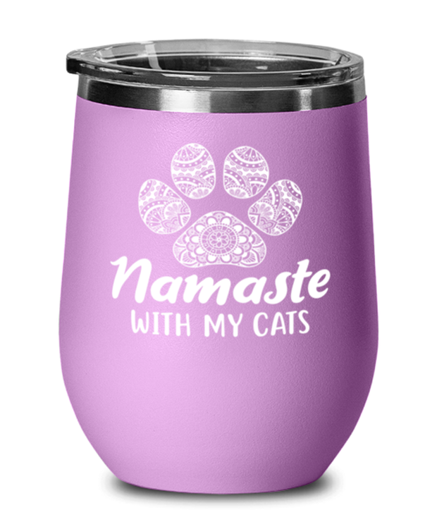 Namaste Home With My Cats Light Purple Wine Tumbler w/ Lid, Gift For Cat And Yoga Lovers, Wine Glasses Gift For Her, Birthday, Just Because Present Ideas For Cat And Yoga Lovers