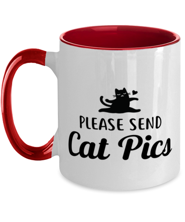 Please Send Cat Pics 11oz Red Two Tone Coffee Mug, Gift For Cat Lovers, Novelty Coffee Mugs Gift For Friend, Sister, Daughter, Birthday, Just Because Present Ideas For Cat Lovers