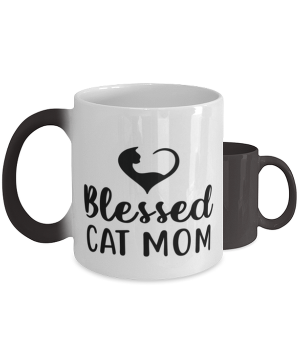 Blessed Cat Mom Color Changing Coffee Mug, Gift For Cat Moms, Novelty Coffee Mugs Gift For Mom, Daughter, Sister, Friend, Mother's Day, Birthday Present Ideas For Cat Moms