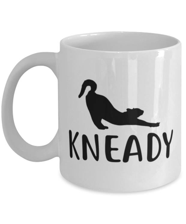 Kneady 11 oz White Coffee Mug, Gift For Cat Lovers, Novelty Coffee Mugs Gift For Her, Sister, Friend, Birthday, Just Because Present Ideas For Cat Lovers