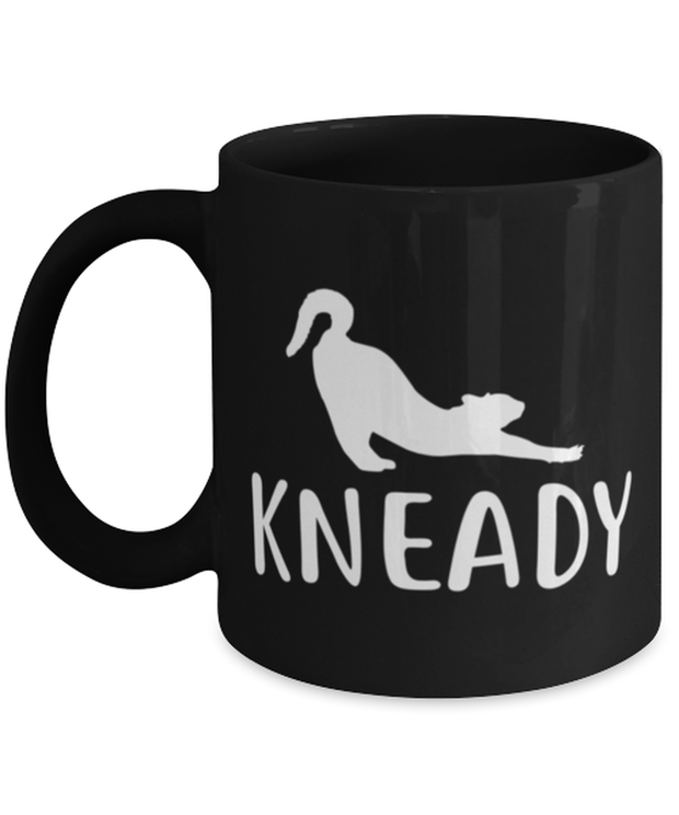Kneady 11 oz Black Coffee Mug, Gift For Cat Lovers, Novelty Coffee Mugs Gift For Her, Sister, Friend, Birthday, Just Because Present Ideas For Cat Lovers