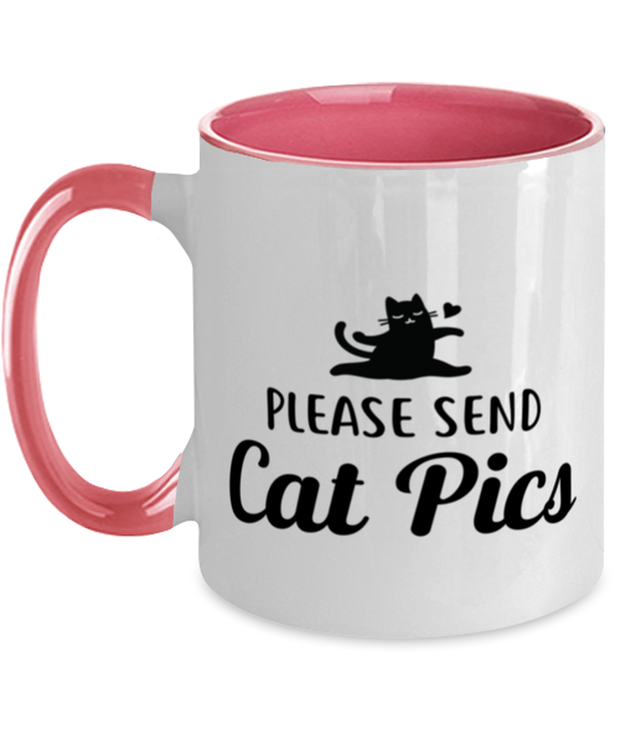 Please Send Cat Pics 11oz Pink Two Tone Coffee Mug, Gift For Cat Lovers, Novelty Coffee Mugs Gift For Friend, Sister, Daughter, Birthday, Just Because Present Ideas For Cat Lovers