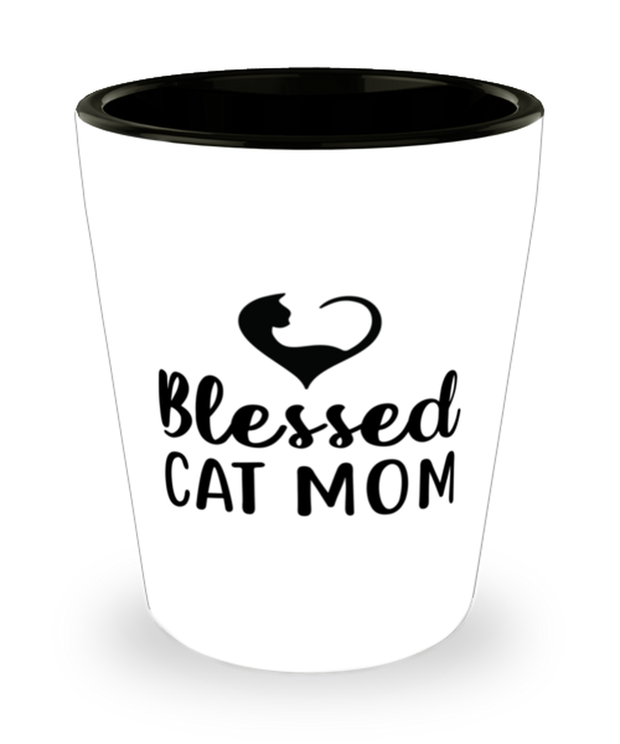 Blessed Cat Mom 1.5 oz Ceramic Shot Glass, Gift For Cat Moms, Shot Glasses Gift For Mom, Daughter, Sister, Friend, Mother's Day, Birthday Present Ideas For Cat Moms