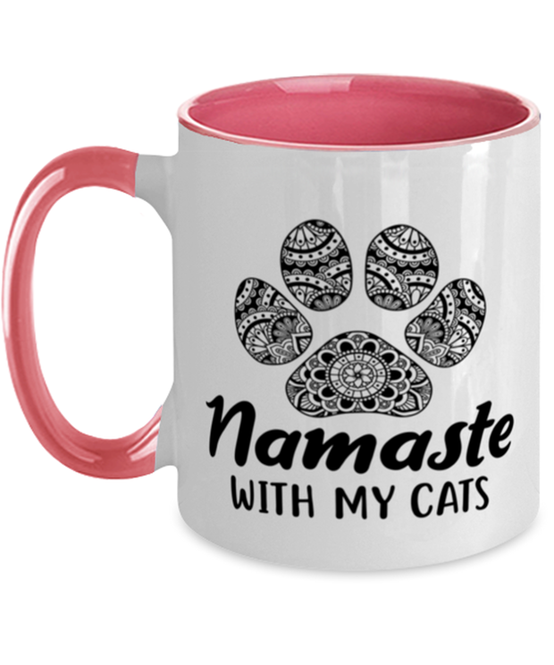 Namaste Home With My Cats 11oz Pink Two Tone Coffee Mug, Gift For Cat And Yoga Lovers, Novelty Coffee Mugs Gift For Her, Birthday, Just Because Present Ideas For Cat And Yoga Lovers