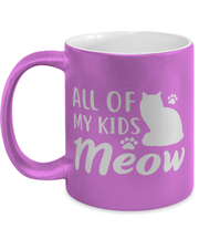 All Of My Kids Meow 11 oz Metallic Purple Mug, Gift For Cat Moms, Novelty Coffee Mugs Gift For Mom, Daughter, Sister, Friend, Mother's Day, Birthday Present Ideas For Cat Moms