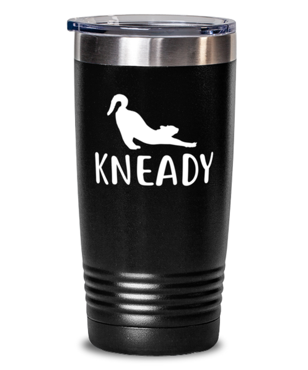 Kneady 20 oz Black Drink Tumbler w/ Lid, Gift For Cat Lovers, Tumblers & Water Glasses Gift For Her, Sister, Friend, Birthday, Just Because Present Ideas For Cat Lovers