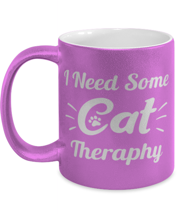 Need Cat Therapy 11 oz Metallic Purple Mug, Gift For Cat Lovers, Novelty Coffee Mugs Gift For Mom, Daughter, Sister, Friend, Birthday, Just Because Present Ideas For Cat Lovers