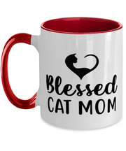 Blessed Cat Mom 11oz Red Two Tone Coffee Mug, Gift For Cat Moms, Novelty Coffee Mugs Gift For Mom, Daughter, Sister, Friend, Mother's Day, Birthday Present Ideas For Cat Moms