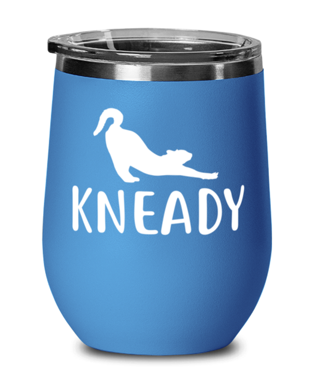 Kneady Blue Insulated Wine Tumbler w/ Lid, Gift For Cat Lovers, Wine Glasses Gift For Her, Sister, Friend, Birthday, Just Because Present Ideas For Cat Lovers
