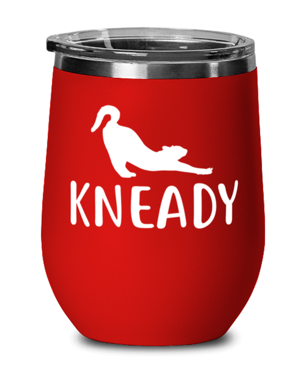 Kneady Red Insulated Wine Tumbler w/ Lid, Gift For Cat Lovers, Wine Glasses Gift For Her, Sister, Friend, Birthday, Just Because Present Ideas For Cat Lovers