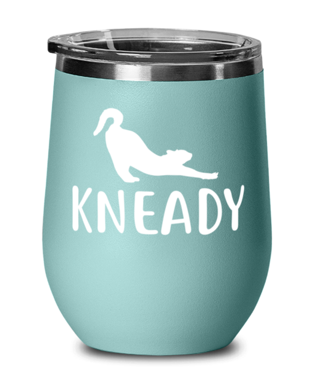 Kneady Teal Insulated Wine Tumbler w/ Lid, Gift For Cat Lovers, Wine Glasses Gift For Her, Sister, Friend, Birthday, Just Because Present Ideas For Cat Lovers
