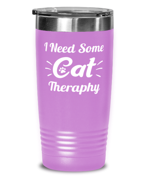 Need Cat Therapy 20 oz Light Purple Drink Tumbler w/ Lid, Gift For Cat Lovers, Tumblers & Water Glasses Gift For Mom, Daughter, Sister, Friend, Birthday, Just Because Present Ideas For Cat Lovers