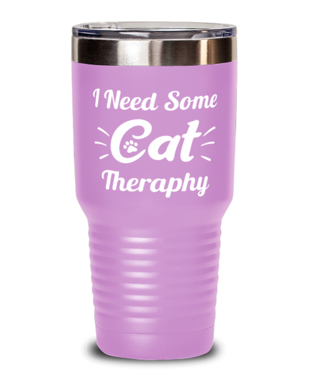 Need Cat Therapy 30 oz Light Purple Drink Tumbler w/ Lid, Gift For Cat Lovers, Tumblers & Water Glasses Gift For Mom, Daughter, Sister, Friend, Birthday, Just Because Present Ideas For Cat Lovers