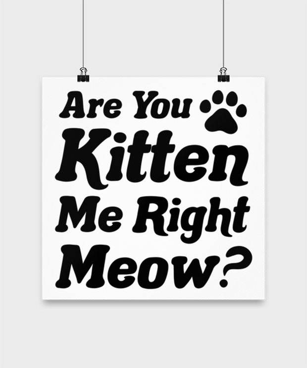 Are You Kitten Me Right Meow High Gloss Poster 14 in x 14 in, Gift For Cat Lovers, Posters & Prints Gift For Her, Birthday, Just Because Present Ideas For Cat Lovers