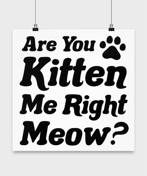 Are You Kitten Me Right Meow High Gloss Poster 16 in x 16 in, Gift For Cat Lovers, Posters & Prints Gift For Her, Birthday, Just Because Present Ideas For Cat Lovers