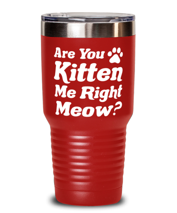 Are You Kitten Me Right Meow 30 oz Red Drink Tumbler w/ Lid, Gift For Cat Lovers, Tumblers & Water Glasses Gift For Her, Birthday, Just Because Present Ideas For Cat Lovers