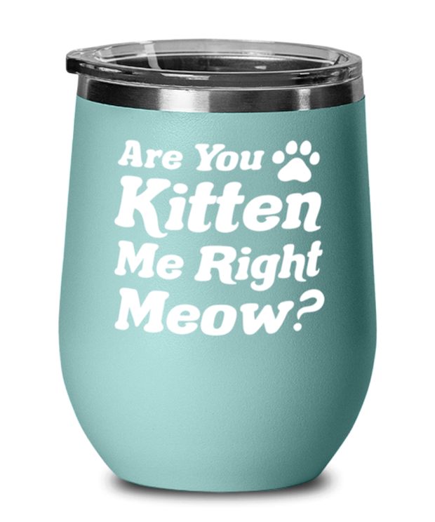 Are You Kitten Me Right Meow Teal Insulated Wine Tumbler w/ Lid, Gift For Cat Lovers, Wine Glasses Gift For Her, Birthday, Just Because Present Ideas For Cat Lovers
