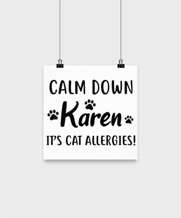 Calm Down Karen It's Cat Allergies High Gloss Poster 10 in x 10 in , Gift For Cat Lovers, Posters & Prints Gift For Him, Her, Birthday, Just Because Present Ideas For Cat Lovers