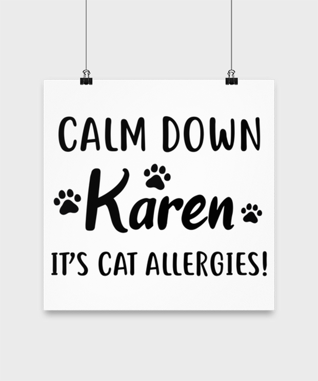 Calm Down Karen It's Cat Allergies High Gloss Poster 14 in x 14 in, Gift For Cat Lovers, Posters & Prints Gift For Him, Her, Birthday, Just Because Present Ideas For Cat Lovers