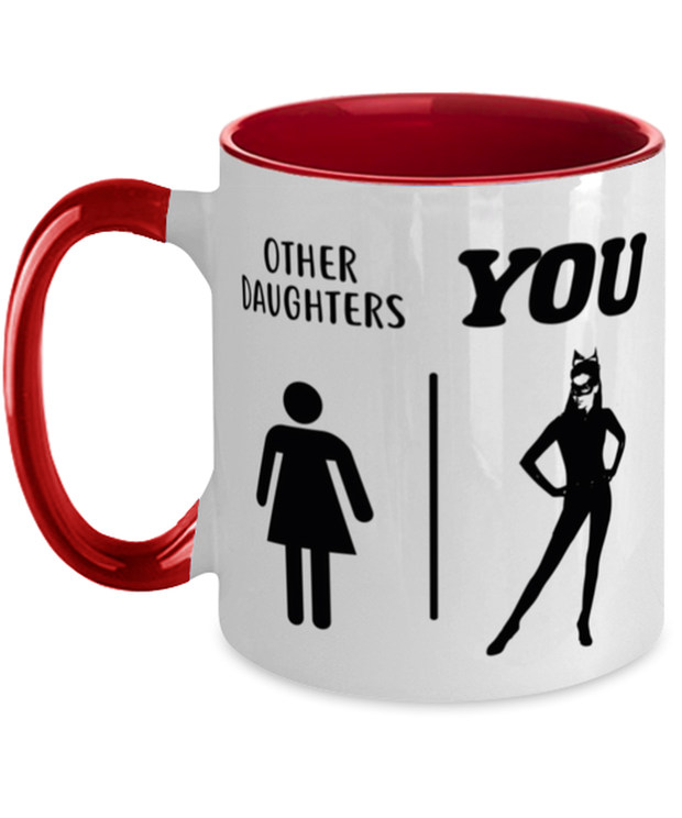 Other Daughters | You 11oz Red Two Tone Coffee Mug, Gift For Cat Loving Daughters, Novelty Coffee Mugs Gift For Daughters, Birthday Present Ideas For Cat Loving Daughters