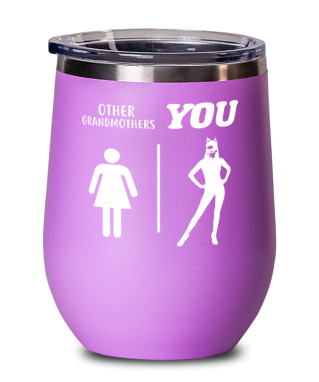 Other Grandmothers YOU Pink Insulated Wine Tumbler w/ Lid, Gift For Cat Loving Grandmothers, Wine Glasses Gift For Grandmother, Mothers Day Present Ideas For Cat Loving Grandmothers