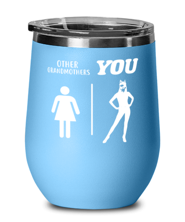 Other Grandmothers YOU Light Blue Wine Tumbler w/ Lid, Gift For Cat Loving Grandmothers, Wine Glasses Gift For Grandmother, Mothers Day Present Ideas For Cat Loving Grandmothers
