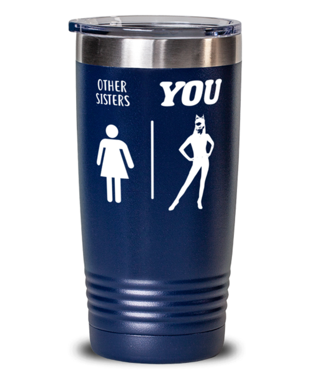 Other Sisters YOU 20 oz Blue Drink Tumbler w/ Lid, Gift For Cat Loving Sisters, Tumblers & Water Glasses Gift For Sister, Birthday, Just Because Present Ideas For Cat Loving Sisters