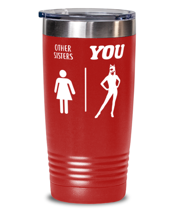 Other Sisters YOU 20 oz Red Drink Tumbler w/ Lid, Gift For Cat Loving Sisters, Tumblers & Water Glasses Gift For Sister, Birthday, Just Because Present Ideas For Cat Loving Sisters