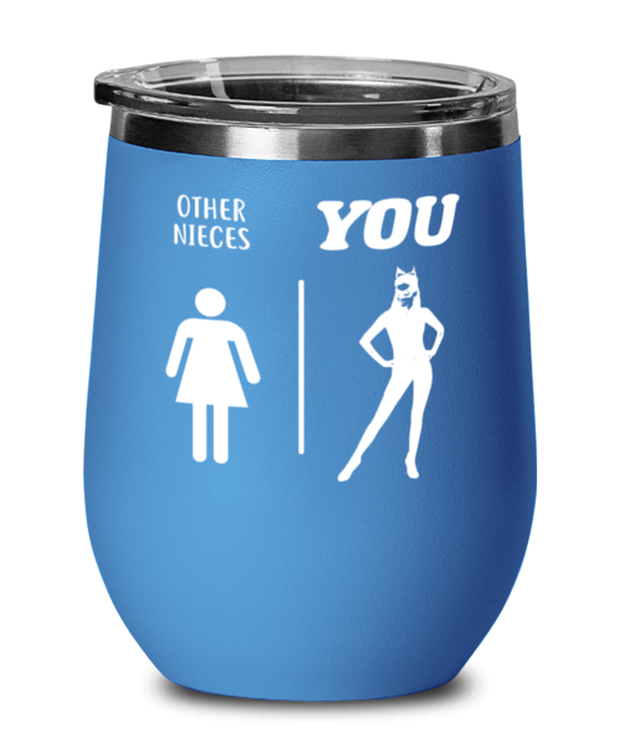 Other Nieces YOU Blue Insulated Wine Tumbler w/ Lid, Gift For Cat Loving Nieces, Wine Glasses Gift For Niece, Birthday, Christmas, Just Because Present Ideas For Cat Loving Nieces