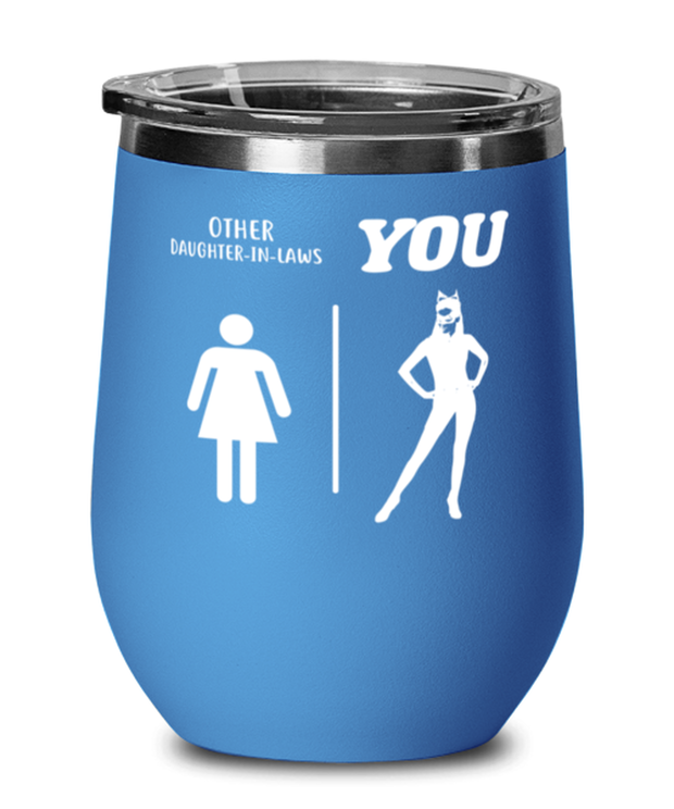 Other Daughter-In-Laws Blue Insulated Wine Tumbler w/ Lid, Gift For Cat Loving Daughter-In-Laws, Wine Glasses Gift For Daughter-In-Law,  Present Ideas For Cat Loving Daughter-In-Laws