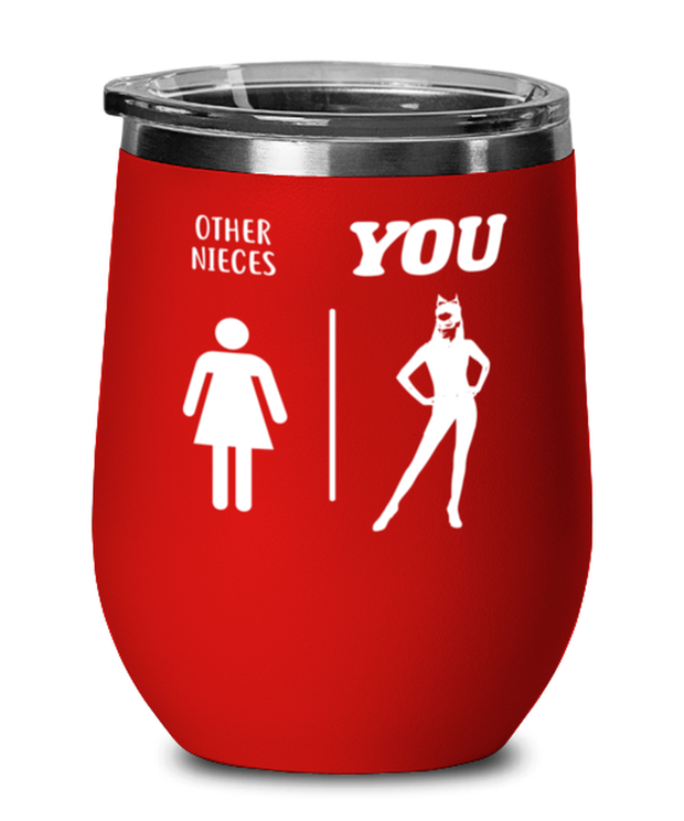 Other Nieces YOU Red Insulated Wine Tumbler w/ Lid, Gift For Cat Loving Nieces, Wine Glasses Gift For Niece, Birthday, Christmas, Just Because Present Ideas For Cat Loving Nieces