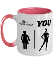 Other Daughter-In-Laws 11oz Pink Two Tone Coffee Mug, Gift For Cat Loving Daughter-In-Laws, Novelty Coffee Mugs Gift For Daughter-In-Law,  Present Ideas For Cat Loving Daughter-In-Laws