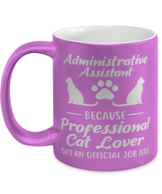 Admin Assistant Prof Cat Lover 11 oz Metallic Purple Mug, Gift For Cat Loving Admin Assistants, Novelty Coffee Mugs Gift For Her,  Present Ideas For Cat Loving Admin Assistants