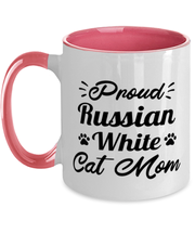 Proud Russian White Cat Mom 11oz Pink Two Tone Coffee Mug, Gift For Russian White Cat Moms, Novelty Coffee Mugs Gift For Her, Birthday Present Ideas For Russian White Cat Moms