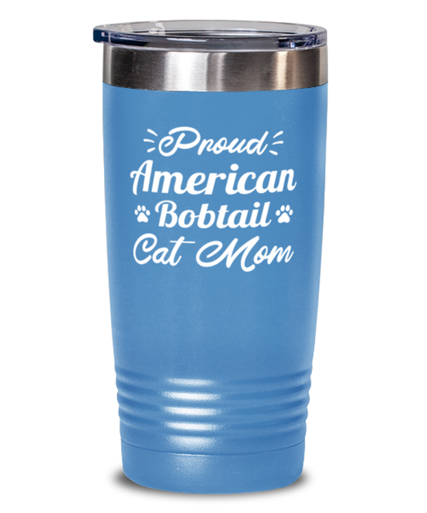 Prd American Bobtail Cat Mom 20 oz Light Blue Drink Tumbler w/ Lid, Gift For American Bobtail Cat Moms, Tumblers & Water Glasses Gift For Her, Birthday Present Ideas For American Bobtail Cat Moms