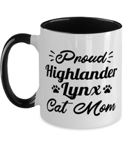 Proud Highlander Lynx Cat Mom 11oz Black Two Tone Coffee Mug, Gift For Highlander Lynx Cat Moms, Novelty Coffee Mugs Gift For Her, Birthday Present Ideas For Highlander Lynx Cat Moms