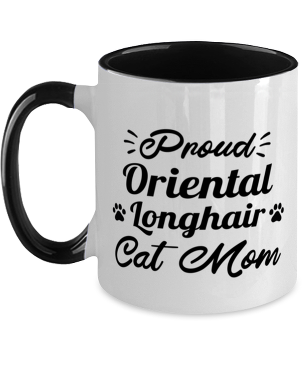 Prd Orientl Lnghair Cat Mom 11oz Black Two Tone Coffee Mug, Gift For Oriental Longhair Cat Moms, Novelty Coffee Mugs Gift For Her, Birthday Present Ideas For Oriental Longhair Cat Moms